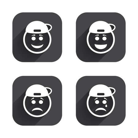 long depression: Rapper smile face icons. Happy, sad, cry signs. Happy smiley chat symbol. Sadness depression and crying signs. Square flat buttons with long shadow. Illustration