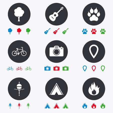 clutches: Tourism, camping icons. Fishing, fire and bike signs. Guitar music, photo camera and paw with clutches. Flat circle buttons with icons. Illustration