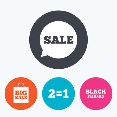 sign equals: Sale speech bubble icons. Two equals one. Black friday sign. Big sale shopping bag symbol. Circle flat buttons with icon. Illustration