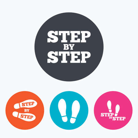 instruction: Step by step icons. Footprint shoes symbols. Instruction guide concept. Circle flat buttons with icon. Illustration