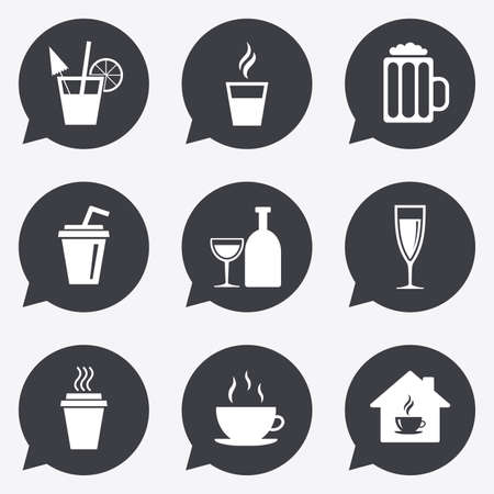 take away: Tea, coffee and beer icons. Beer, wine and cocktail signs. Take away drinks. Flat icons in speech bubble pointers.