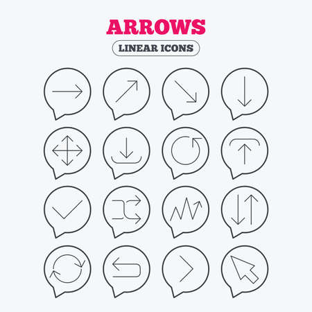 Arrows line icons. Download, upload, check or tick symbols. Refresh, fullscreen and shuffle thin outline signs. Linear icons in speech bubbles.