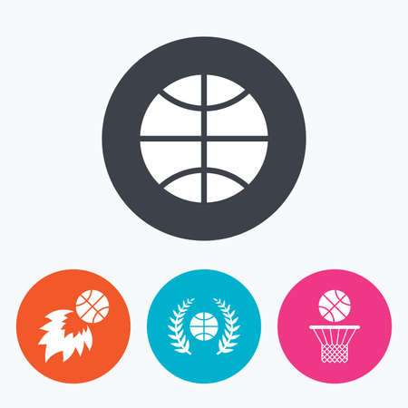 fireball: Basketball sport icons. Ball with basket and fireball signs. Laurel wreath symbol. Circle flat buttons with icon.