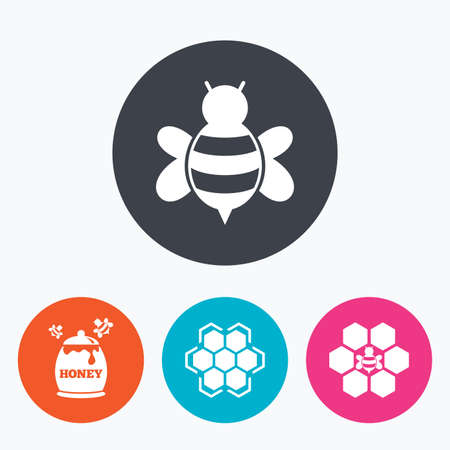 fructose: Honey icon. Honeycomb cells with bees symbol. Sweet natural food signs. Circle flat buttons with icon. Illustration