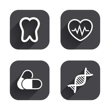 deoxyribonucleic acid: Maternity icons. Pills, tooth, DNA and heart cardiogram signs. Heartbeat symbol. Deoxyribonucleic acid. Dental care. Square flat buttons with long shadow.