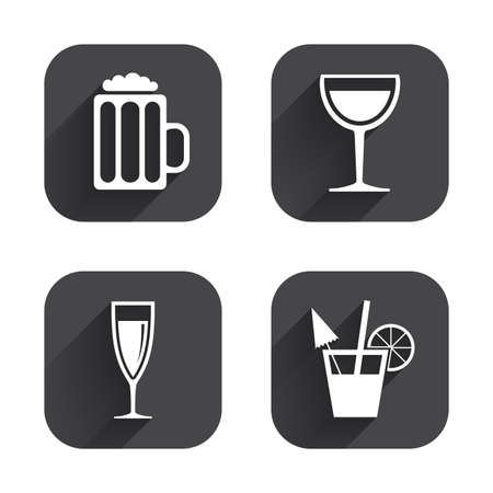champagne orange: Alcoholic drinks icons. Champagne sparkling wine and beer symbols. Wine glass and cocktail signs. Square flat buttons with long shadow.