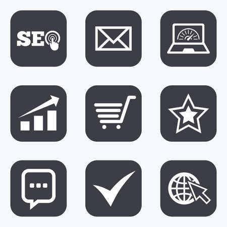 bandwidth: Internet, seo icons. Tick, online shopping and chart signs. Bandwidth, mobile device and chat symbols. Flat square buttons with rounded corners.