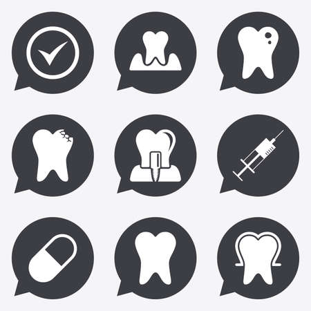 periodontal: Tooth, dental care icons. Stomatology, syringe and implant signs. Healthy teeth, caries and pills symbols. Flat icons in speech bubble pointers. Illustration