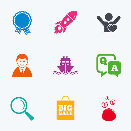 shopping questions: Online shopping, e-commerce and business icons. Startup, award and customers like signs. Cash money, shipment and sale symbols. Flat colored graphic icons.