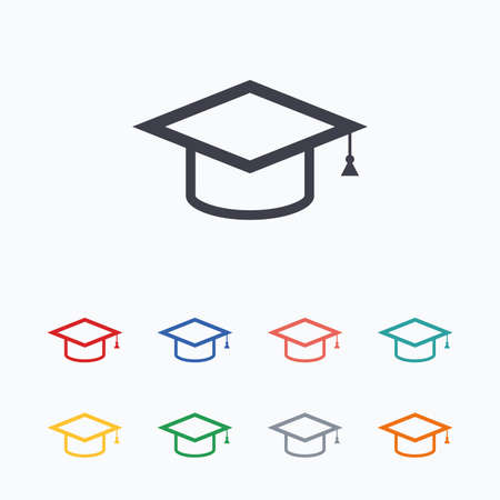 higher education: Graduation cap sign icon. Higher education symbol. Colored flat icons on white background.