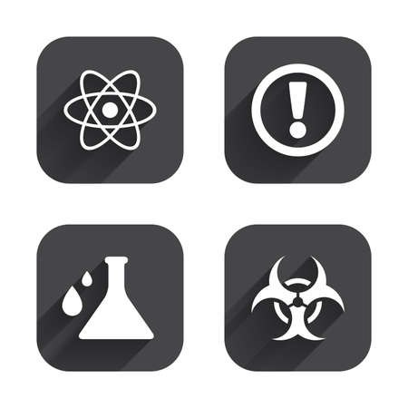caution chemistry: Attention and biohazard icons. Chemistry flask sign. Atom symbol. Square flat buttons with long shadow. Illustration
