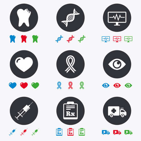awareness ribbon: Medicine, healthcare and diagnosis icons. Tooth, syringe and ambulance signs. Dna, awareness ribbon symbols. Flat circle buttons with icons. Illustration