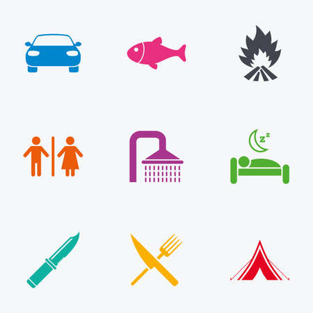 gents: Hiking travel icons. Camping, shower and wc toilet signs. Tourist tent, fork and knife symbols. Flat colored graphic icons.