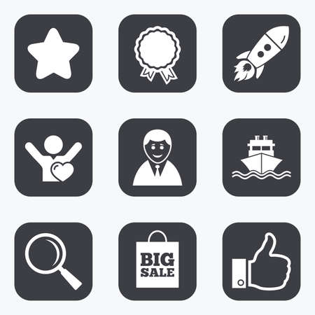 medal like: Online shopping, e-commerce and business icons. Start up, award and customers like signs. Big sale, shipment and favorite symbols. Flat square buttons with rounded corners.