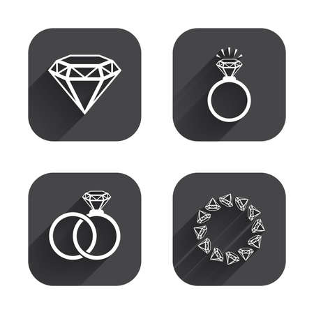 fiance: Rings icons. Jewelry with shine diamond signs. Wedding or engagement symbols. Square flat buttons with long shadow.