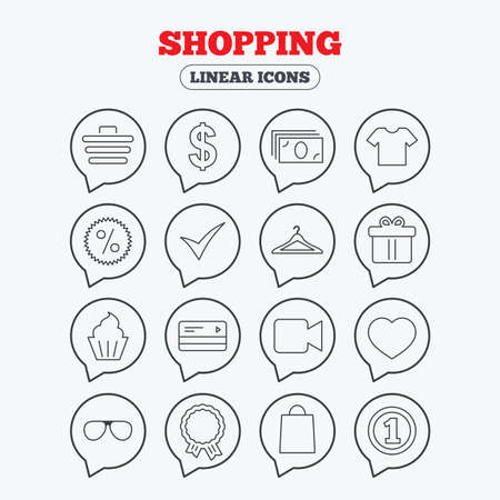 credit cart: Shopping icons. Shopping cart, dollar currency and cash money. Shirt clothes, gift box and hanger. Credit or debit card. Linear icons in speech bubbles. Illustration