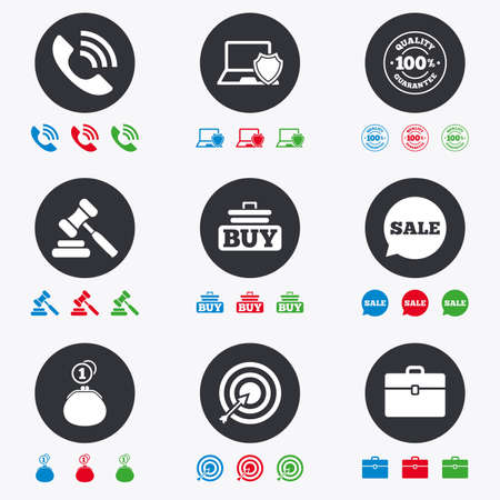 e auction: Online shopping, e-commerce and business icons. Auction, phone call and sale signs. Cash money, case and target symbols. Flat circle buttons with icons.