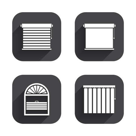 window blinds: Louvers icons. Plisse, rolls, vertical and horizontal. Window blinds or jalousie symbols. Square flat buttons with long shadow.