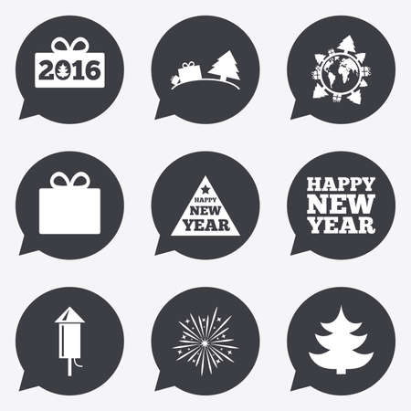salut: Christmas, new year icons. Gift box, fireworks signs. Santa bag, salut and rocket symbols. Flat icons in speech bubble pointers.