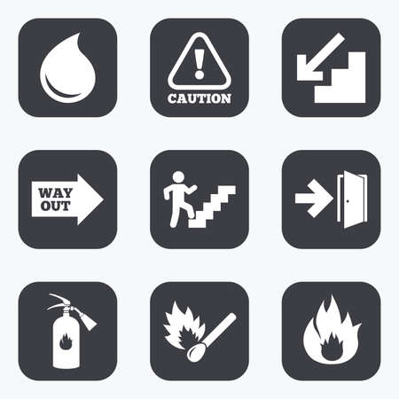 emergency attention: Fire safety, emergency icons. Fire extinguisher, exit and attention signs. Caution, water drop and way out symbols. Flat square buttons with rounded corners. Illustration