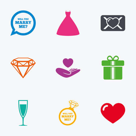brilliant heart: Wedding, engagement icons. Love oath letter, gift box and brilliant signs. Dress, heart and champagne glass symbols. Flat colored graphic icons.