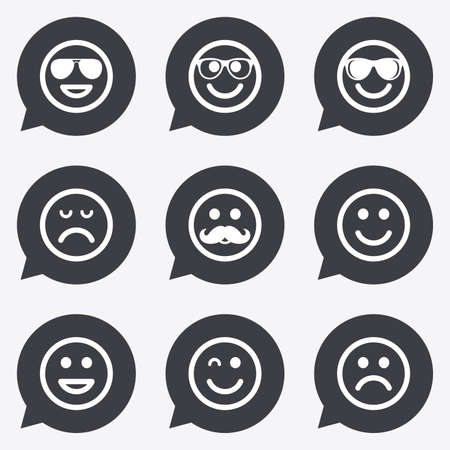wink: Smile icons. Happy, sad and wink faces signs. Sunglasses, mustache and laughing lol smiley symbols. Flat icons in speech bubble pointers.