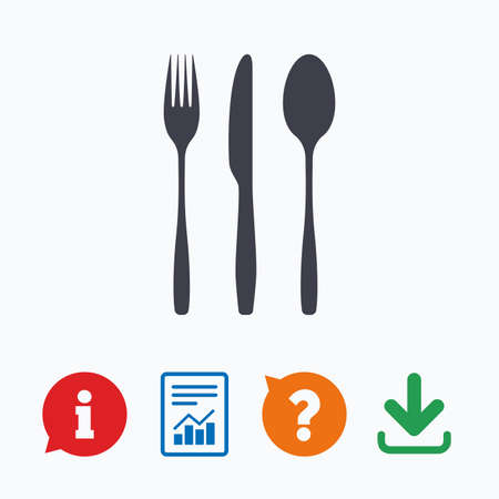 tablespoon: Fork, knife, tablespoon sign icon. Cutlery collection set symbol. Information think bubble, question mark, download and report. Illustration
