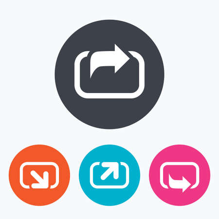 forward arrow: Action icons. Share symbols. Send forward arrow signs. Circle flat buttons with icon.