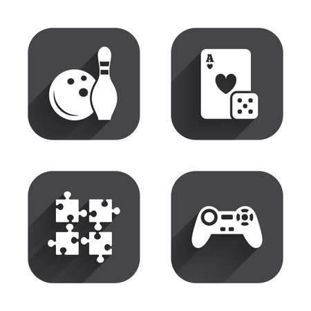 puzzle corners: Bowling and Casino icons. Video game joystick and playing card with puzzles pieces symbols. Entertainment signs. Square flat buttons with long shadow. Illustration