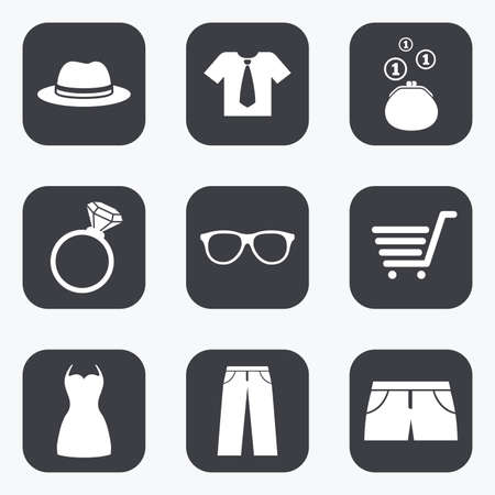 t square: Clothes, accessories icons. Shirt, glasses and hat signs. Wallet with cash coins symbols. Flat square buttons with rounded corners.