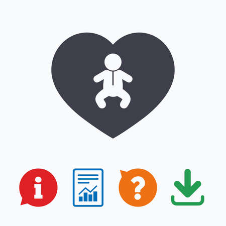 crawlers: Love Baby infant sign icon. Toddler boy in pajamas or crawlers body symbol. Child WC toilet. Information think bubble, question mark, download and report.