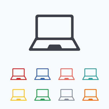 ultrabook: Laptop sign icon. Notebook pc symbol. Colored flat icons on white background. Illustration