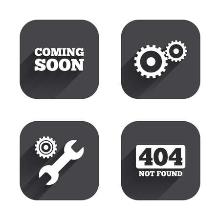 screw key: Coming soon icon. Repair service tool and gear symbols. Wrench sign. 404 Not found. Square flat buttons with long shadow.