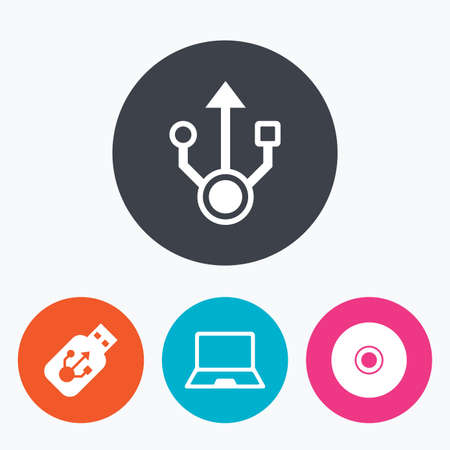 ultrabook: Usb flash drive icons. Notebook or Laptop pc symbols. CD or DVD sign. Compact disc. Circle flat buttons with icon. Illustration