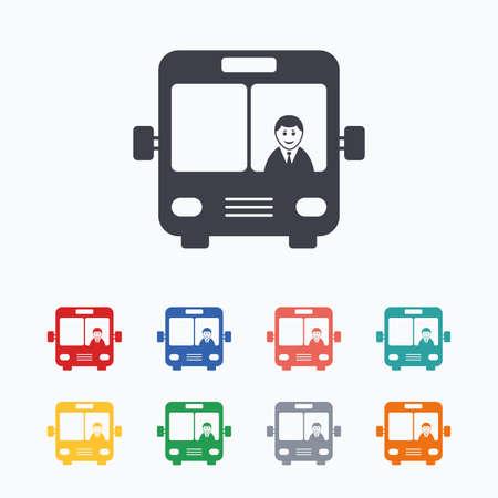 バス記号のアイコン。ドライバーのシンボルと公共交通機関。白の背景に色付きのフラット アイコン。