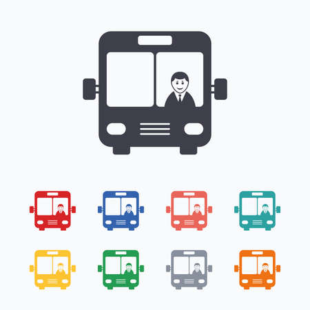 Bus sign icon. Public transport with driver symbol. Colored flat icons on white background. 向量圖像