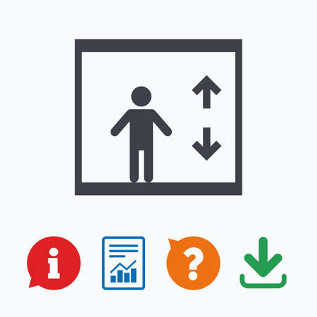 think up: Elevator sign icon. Person symbol with up and down arrows. Information think bubble, question mark, download and report.