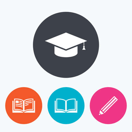 higher education: Pencil and open book icons. Graduation cap symbol. Higher education learn signs. Circle flat buttons with icon. Illustration