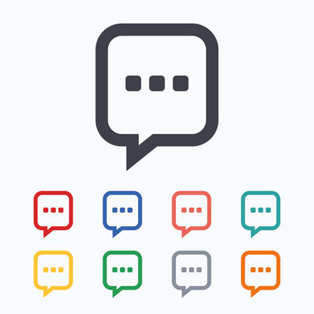 three dots: Chat sign icon. Speech bubble with three dots symbol. Communication chat bubble. Colored flat icons on white background.