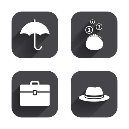 business case: Clothing accessories icons. Umbrella and headdress hat signs. Wallet with cash coins, business case symbols. Square flat buttons with long shadow.