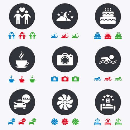 hotel pool: Hotel, apartment service icons. Swimming pool. Ventilation, birthday party and gay-friendly symbols. Flat circle buttons with icons. Illustration