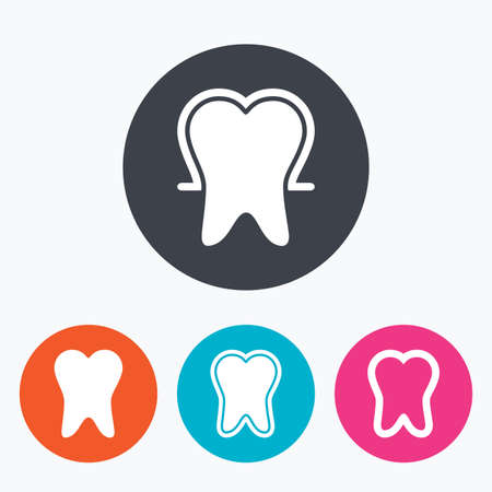 enamel: Tooth enamel protection icons. Dental toothpaste care signs. Healthy teeth sign. Circle flat buttons with icon.