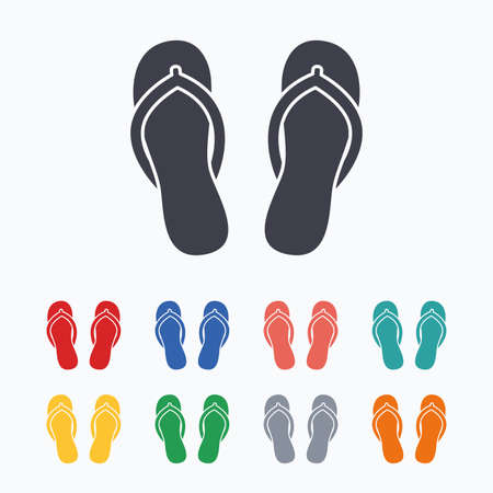 Flip-flops sign icon. Beach shoes. Sand sandals. Colored flat icons on white background. Illustration