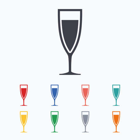 champagne orange: Glass of champagne sign icon. Sparkling wine. Celebration or banquet alcohol drink symbol. Colored flat icons on white background.