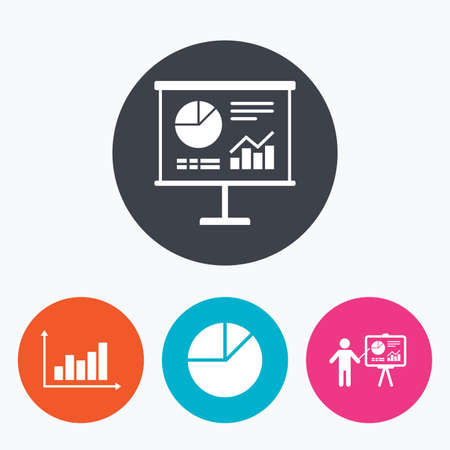 demand: Diagram graph Pie chart icon. Presentation billboard symbol. Supply and demand. Man standing with pointer. Circle flat buttons with icon. Illustration