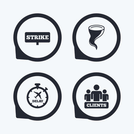 delayed: Strike icon. Storm bad weather and group of people signs. Delayed flight symbol. Flat icon pointers. Illustration