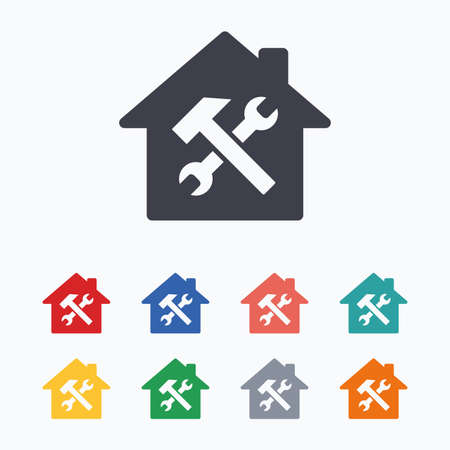 screw key: Service house. Repair tool sign icon. Service symbol. Hammer with wrench. Colored flat icons on white background.