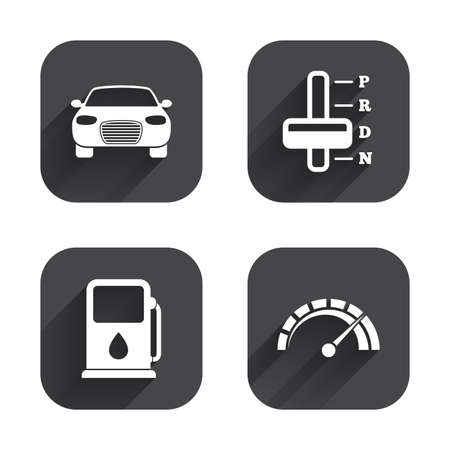 automatic transmission: Transport icons. Car tachometer and automatic transmission symbols. Petrol or Gas station sign. Square flat buttons with long shadow.