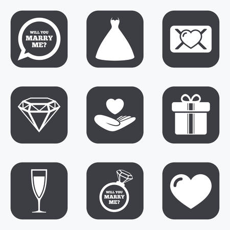 oath: Wedding, engagement icons. Love oath letter, gift box and brilliant signs. Dress, heart and champagne glass symbols. Flat square buttons with rounded corners.