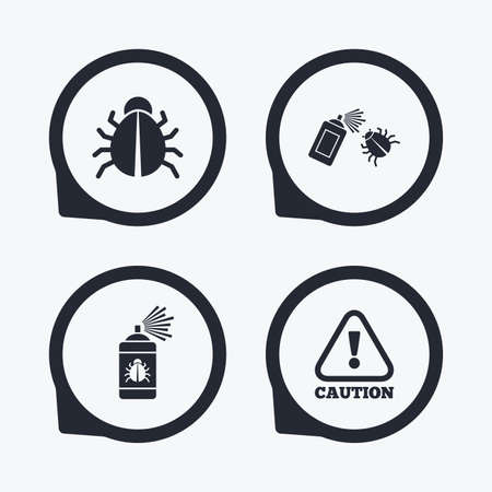 attention symbol: Bug disinfection icons. Caution attention symbol. Insect fumigation spray sign. Flat icon pointers. Illustration